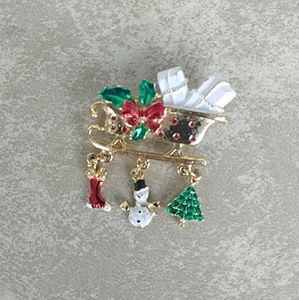 Vintage Christmas Dangle Sleigh Brooch Enamel Pin